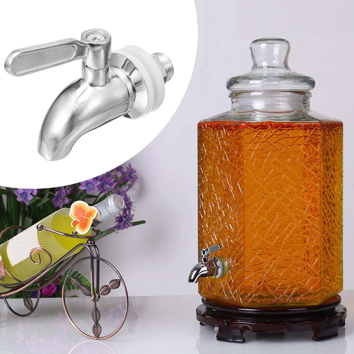 M16 Silver Stainless Steel Faucet Barrel Tap For Drink Beverage Juice Water Coffee With The Switch