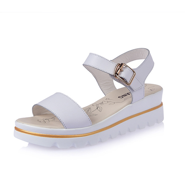 Women Summer Wedge Sandals Soft Comfortable Breathable Leather Beach Sandal Shoes