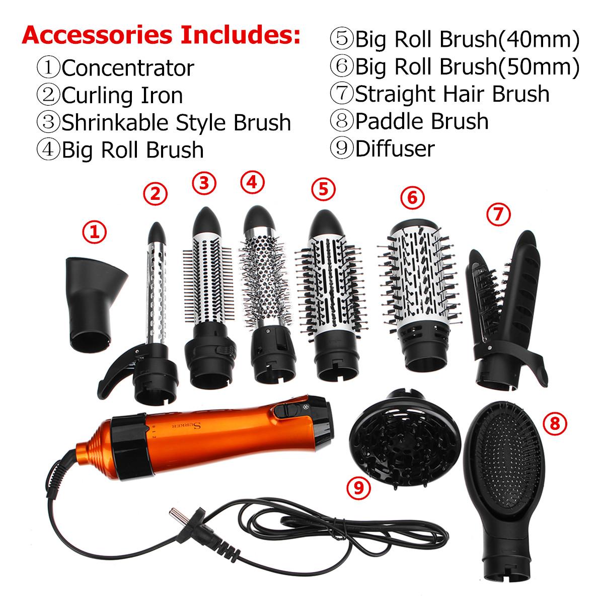 SURKER 1000W 220V-240V 10 in 1 Hair Curler Straightener