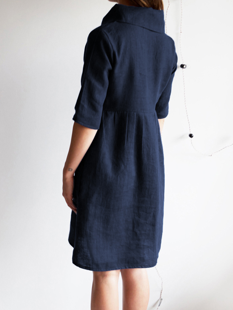Cowl Neck Solid Cotton Dress