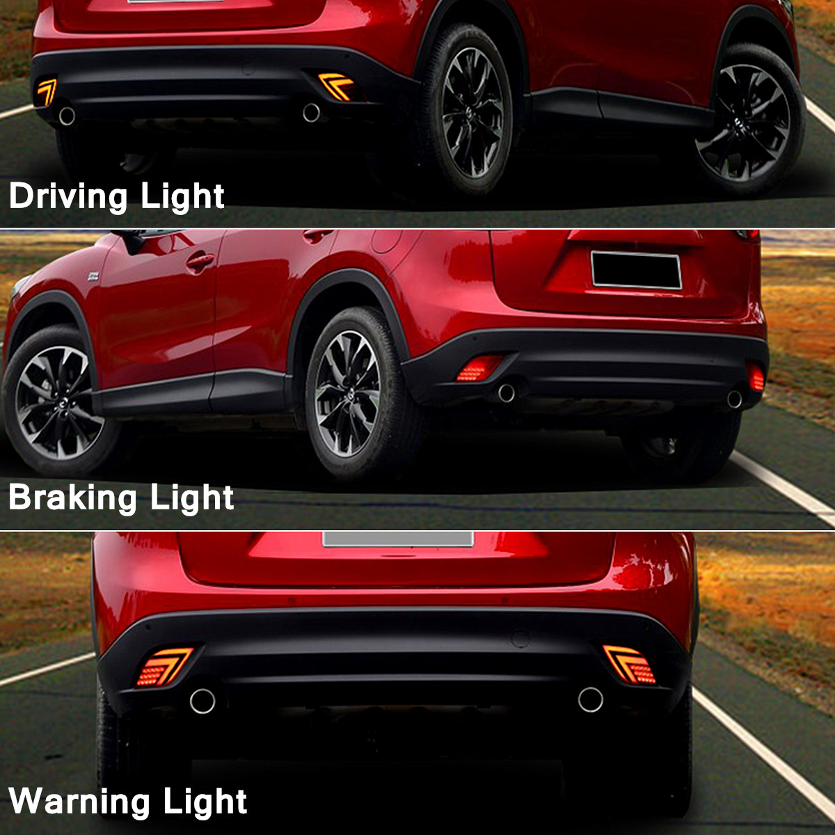 Pair Car Red Rear Bumper Reflector LED Tail Light Brake Fog Lamp for Mazda CX-5 13-16