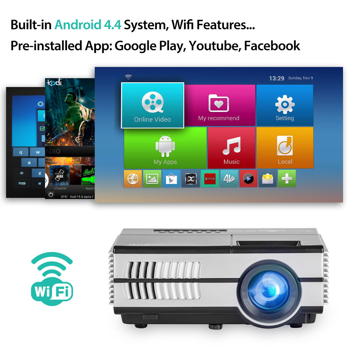 100-240V LED Home Theater Mini Android Projector bluetooth WiFi HD Online TV Movie