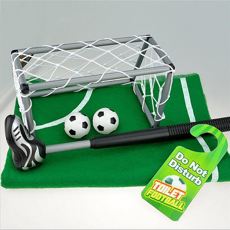 Novelty Bathroom Toilet Mini Football Goal Net Kit Trainer Funny Game Gift Toy