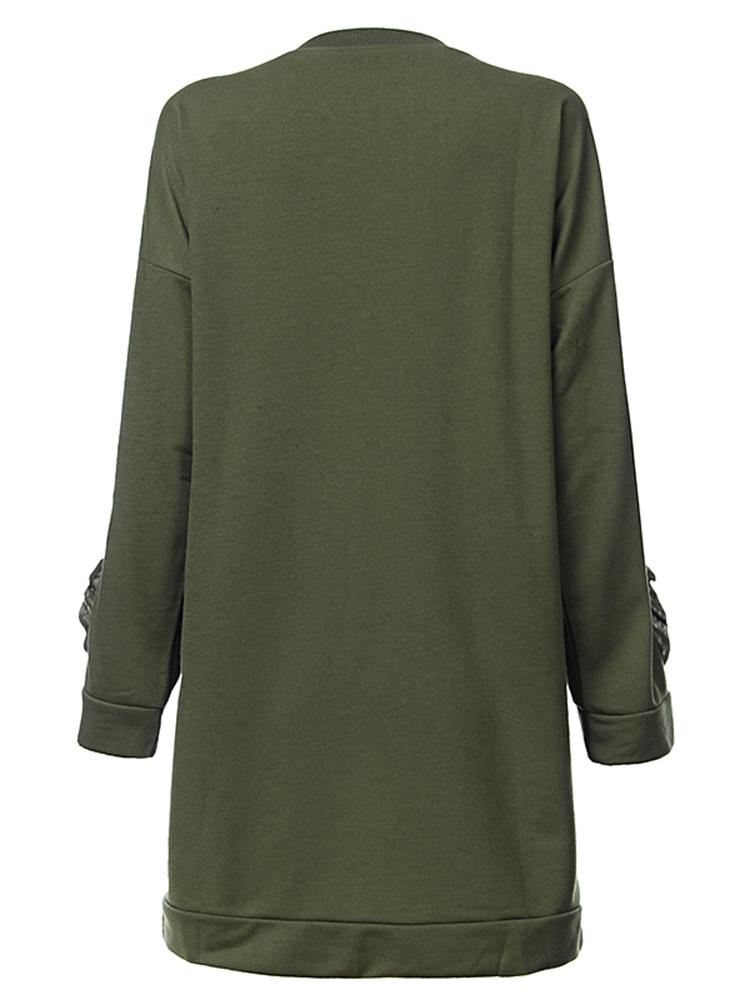 Casual Solid O-Neck Long Sleeve Mid-Long Loose Women Sweatshirt