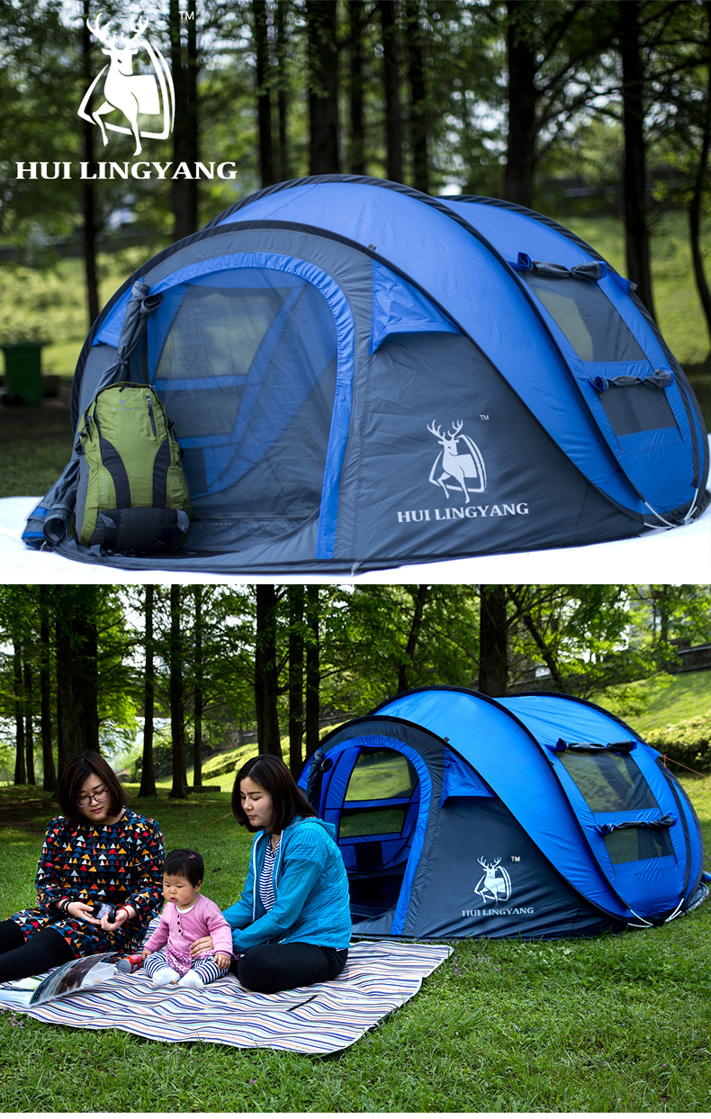 HUILINGYANG 3-4 Person Camping Tent Waterproof Windproof Single Layer Automatic Speed Tent