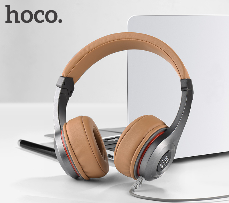 HOCO W6 Over-ear Heavy Bass HIFI 3.5mm Microphone Gaming Wired Headset Stereo Active Volume Control Headphone