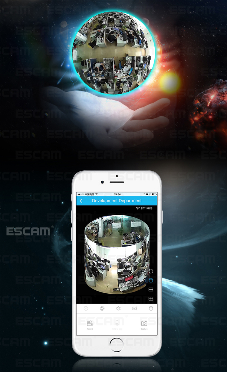 ESCAM Fisheye Camera Support VR QP180 Shark 960P IP WiFi Camera 1.3MP 360 Degree Panoramic Infrared Night Vision Camera