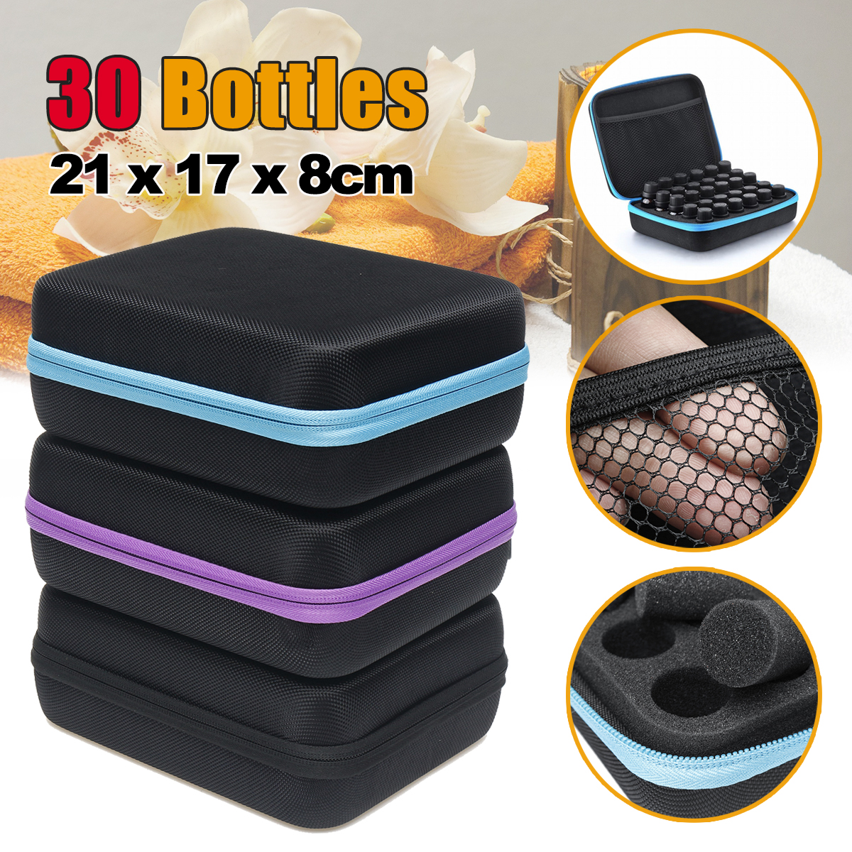 30 Bottles 5/10/15ml Essential Oil Sorage Bag Travel Case Holder Storage Aromatherapy Box