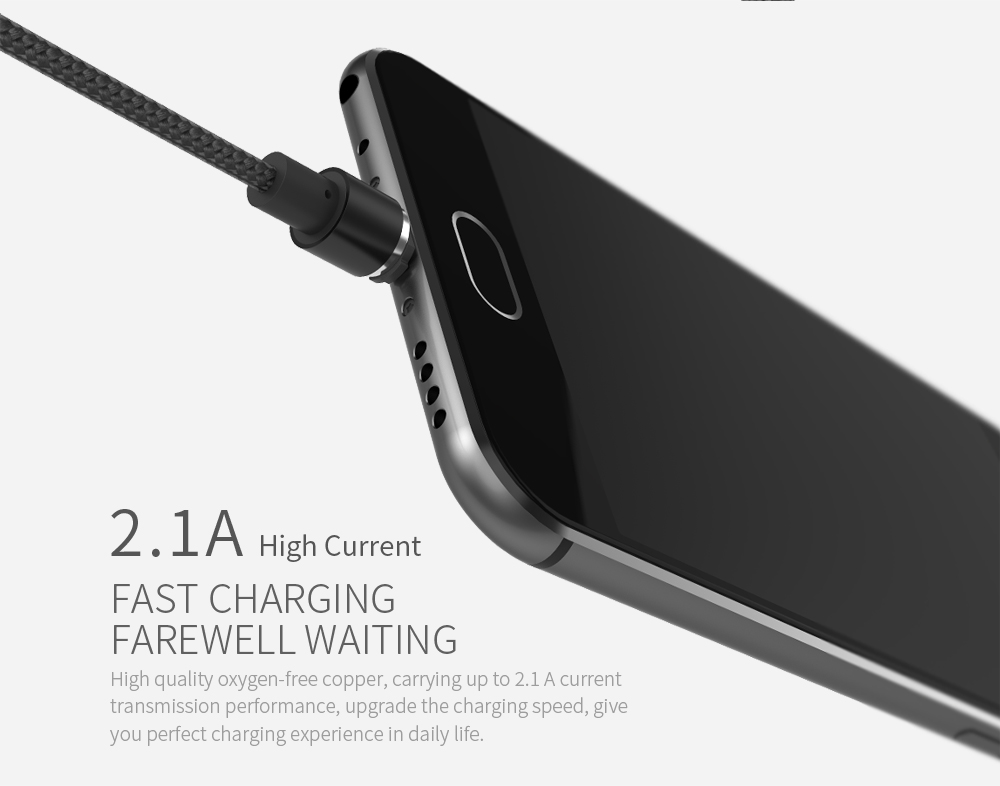 WSKEN 2.1A Type-C Magnetic USB Charging Cable For Samsung S8 Oneplus Xiaomi 6 Nexus 5X