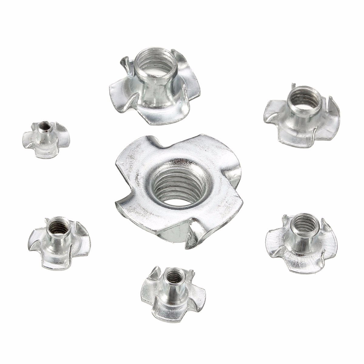 Suleve™ CSTN1 Four Prong T Nut Inserts Carbon Steel Zinc Plated For Wood M3/M4/M5/M6/M8/M12 10Pcs