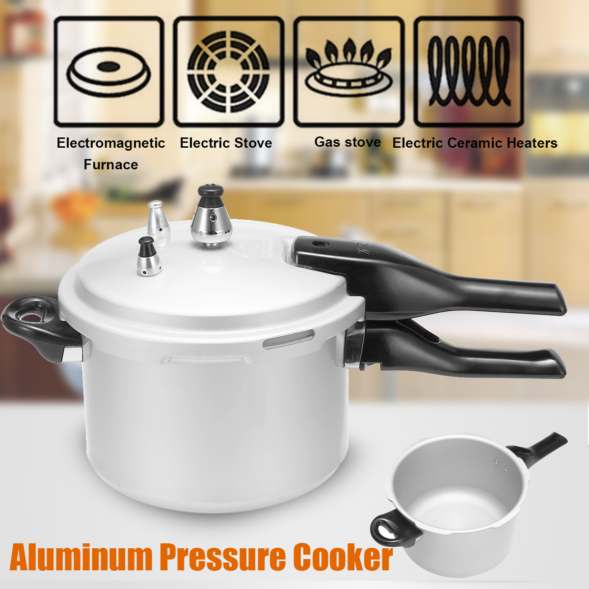 3L 18cm Aluminum Alloy Pressure Cooker Rice Beans Meat Soup Steaming Cooking Pot