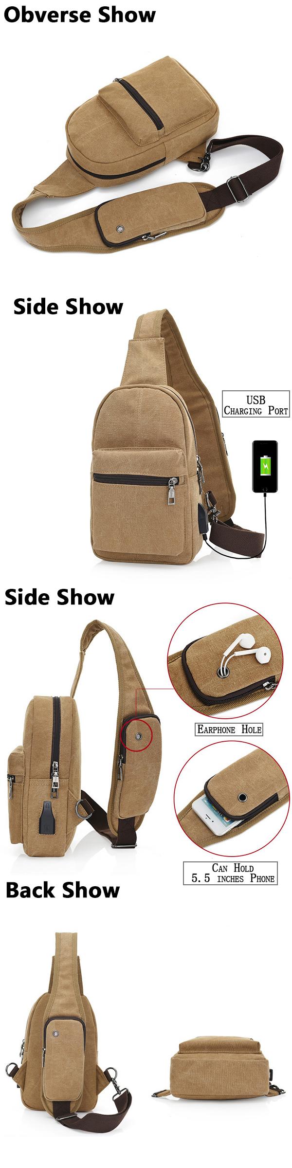 Men Canvas External USB Charging Function Crossbody Bag Leisure Retro Sports Chest Bag