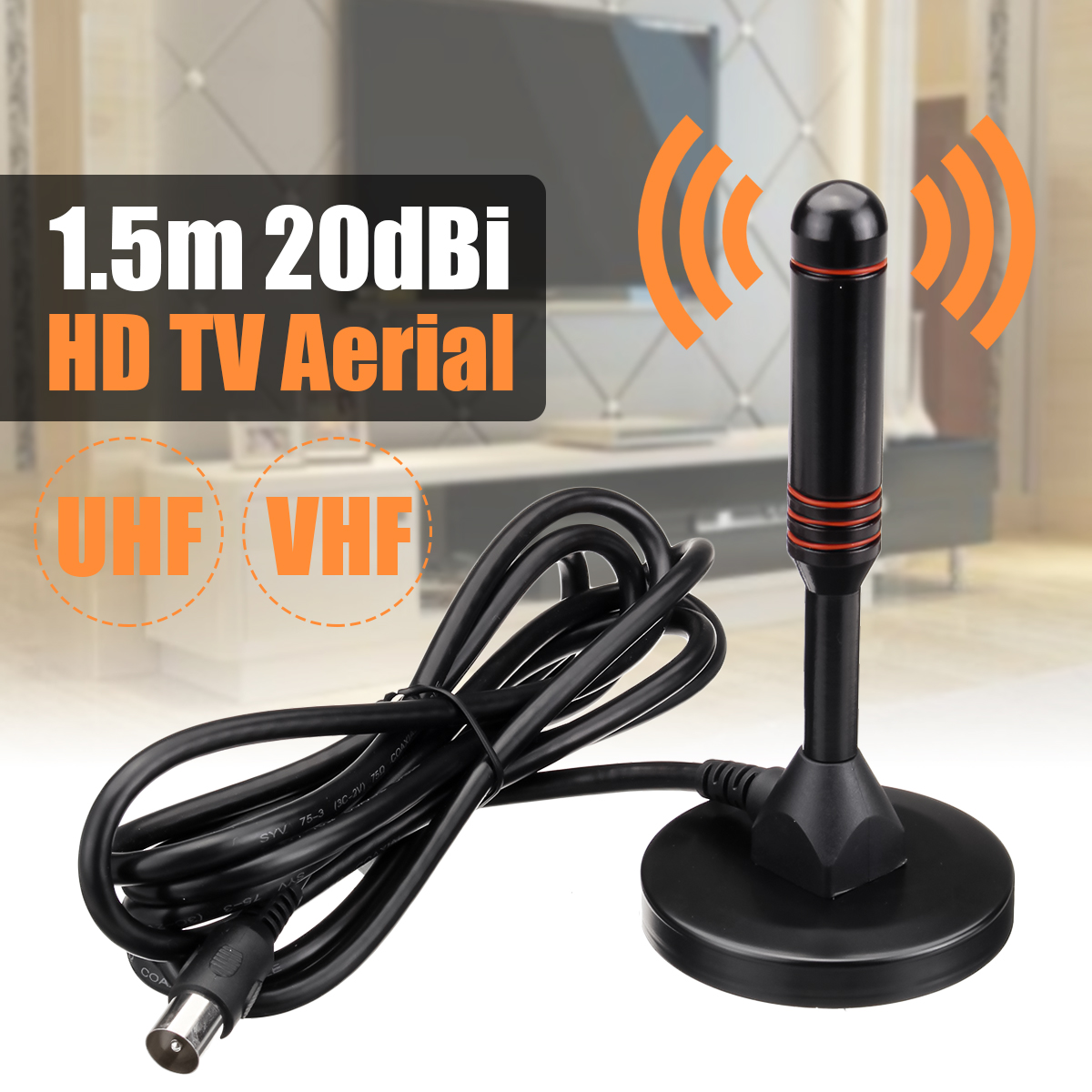 Indoor 20dBi High Gain Freeview Digital DVB-T / DAB HDTV TV Aerial Antenna