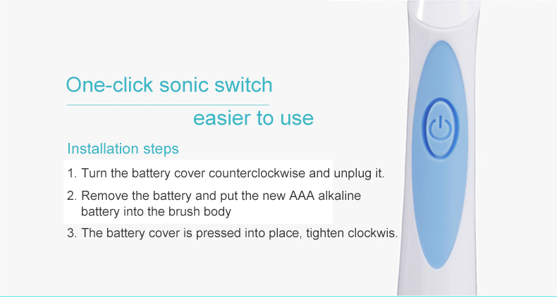 QYG Q2 Sonic Electric Toothbrush Powerful IPX7 Waterproof Blue & Orange With 3 Toothbrush Head