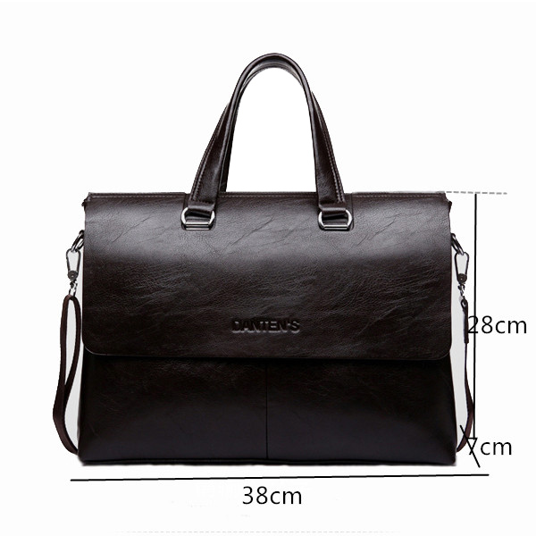 European Style Leather Polyester-Lined Zipper 14 inch Laptop Computer Shoulder Bag Handbag