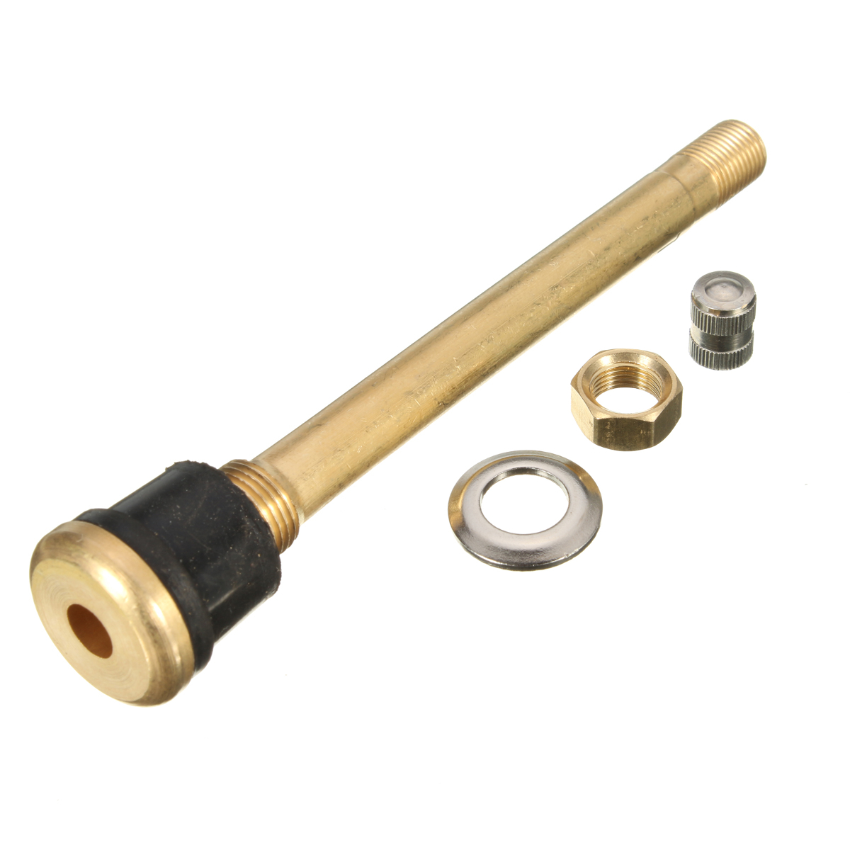 TR572 4inch Brass Tire Cap Valve Stems Wheels Extension Rod Straight Bore