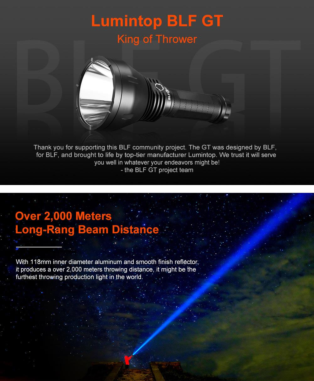 Lumintop BLF GT XHP35 HI 35W 2000LM 0%-100% Stepless Dimming Professional Procedure Super Bright Long Thrower King LED Flashlight