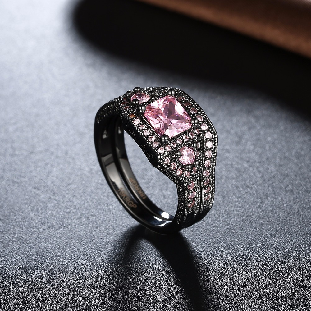 2 Pcs Retro Full Rhinestone Ring Square Zircon Crystal Women Ring