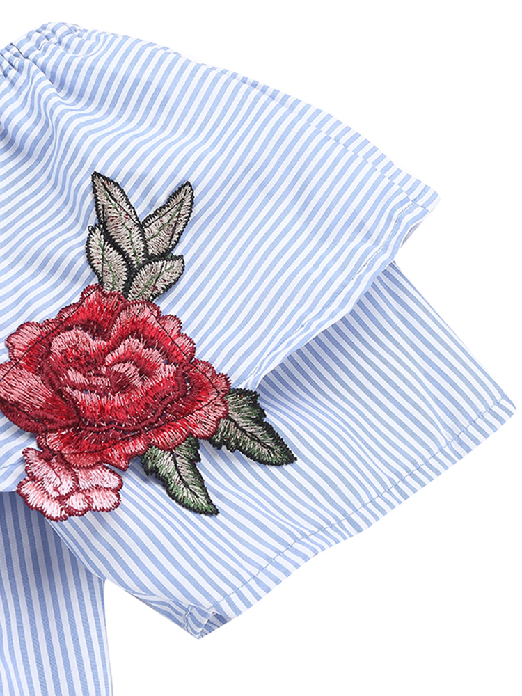 Women Off Shoulder Flouncing Ruffled Embroidery Stripe Knotted Blouses