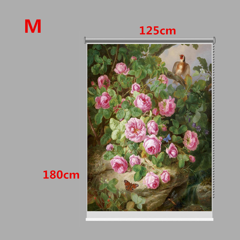 PAG Wall Decor Window Curtain Laurel Flower Roller Shutters Print Painting Roller Blind Background