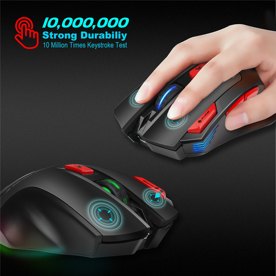 HXSJ T88 4800DPI Adjustable 2.4GHz Wireless Rechargeable Ergonomics Optical Mouse Gaming Mouse Mice