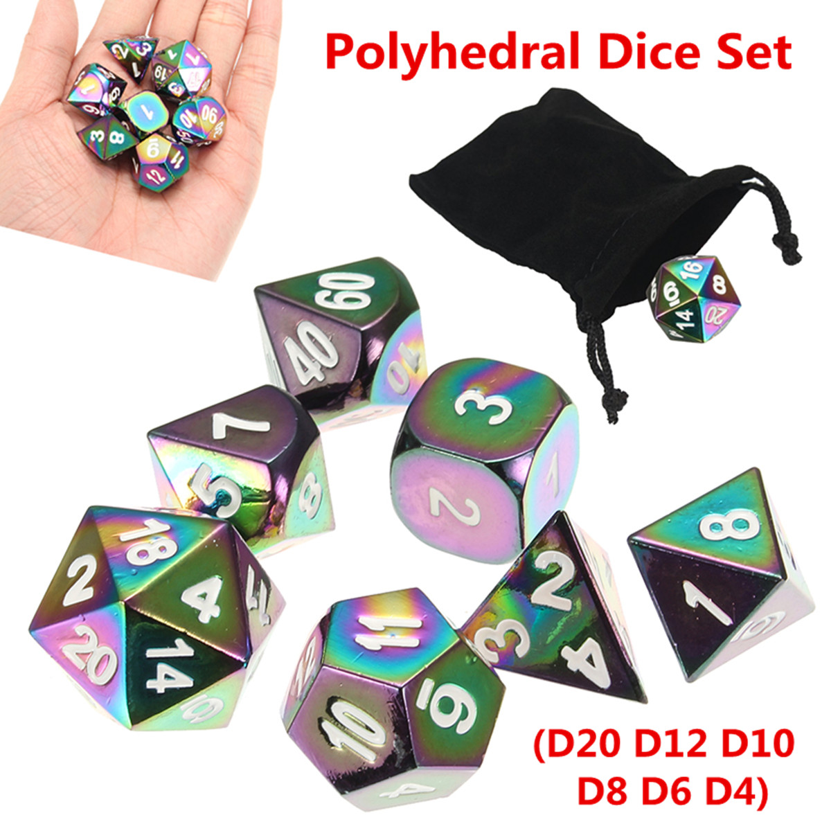7Pcs Colorful Zinc Alloy Polyhedral Dice Set Board Game Multisided Dices Gadget