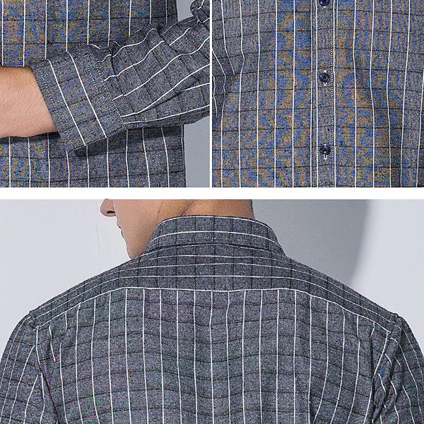 Mens Plaid Printing Slim Fit Business Casual Shirts