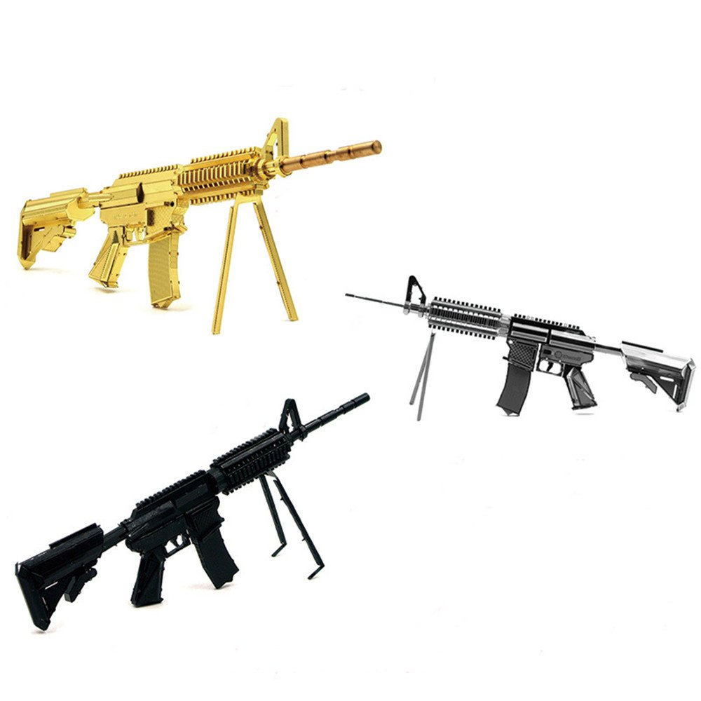 Aipin DIY 3D Metal Puzzle Cool Black Carbine Weapon Stainless Steel Model Building Kit Gift
