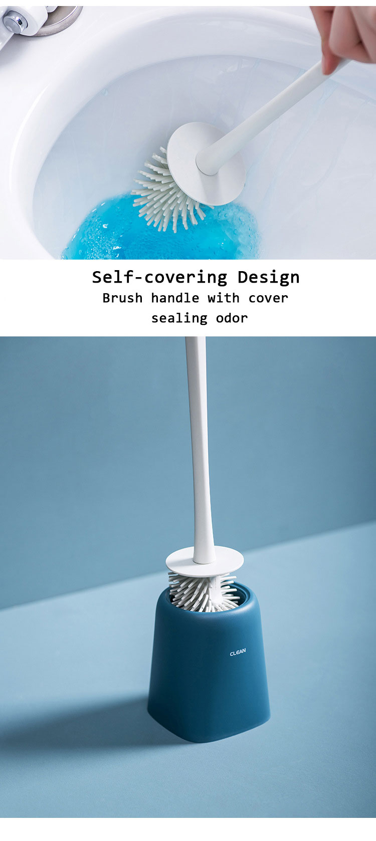 KCASA Nordic Cornerless Toilet Cleaning Brush With Base TPR Soft Brush Head Air Dried Automatically