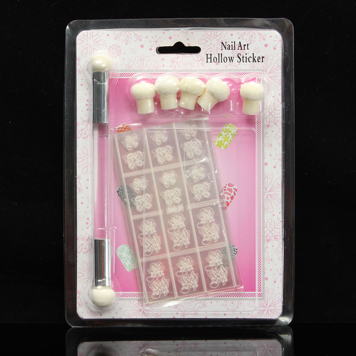 Hollow Sticker Double Ended UV Gel Stamping Transfer Brush Pen Sponge Nail Art Set Manicure Tool