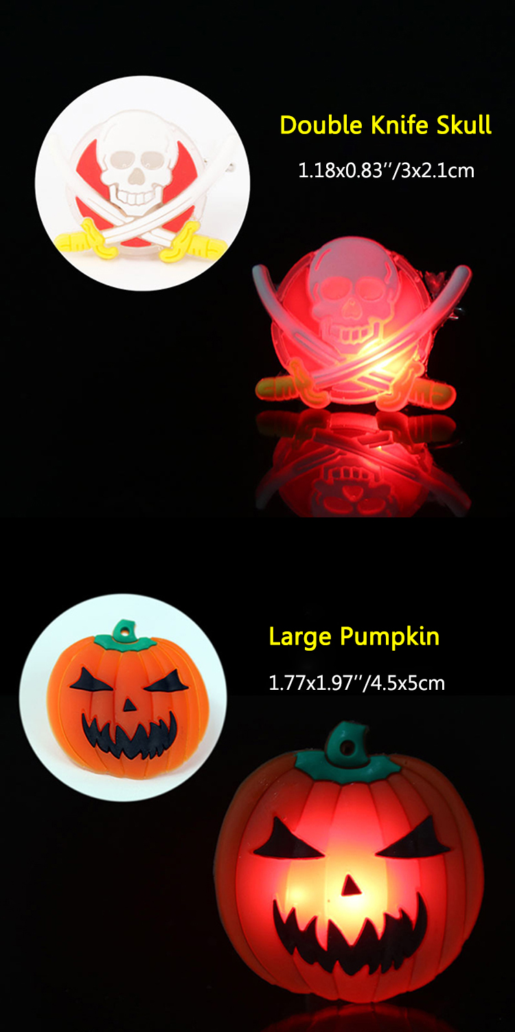 2Pcs Kids Halloween LED Brooch Halloween Kids Party Supplies LED Flashing Light Brooch