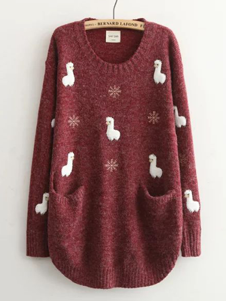 Casual Women Sheep Printed Pockets Sweaters