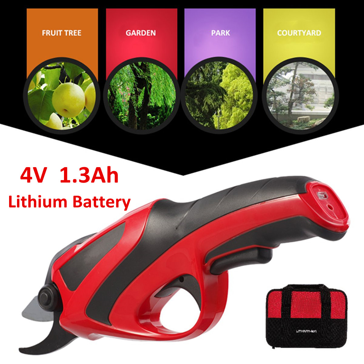 220-240V Rechargeable Electric 3.6V Battery Cordless Secateur Branch Cutter Pruning Shears