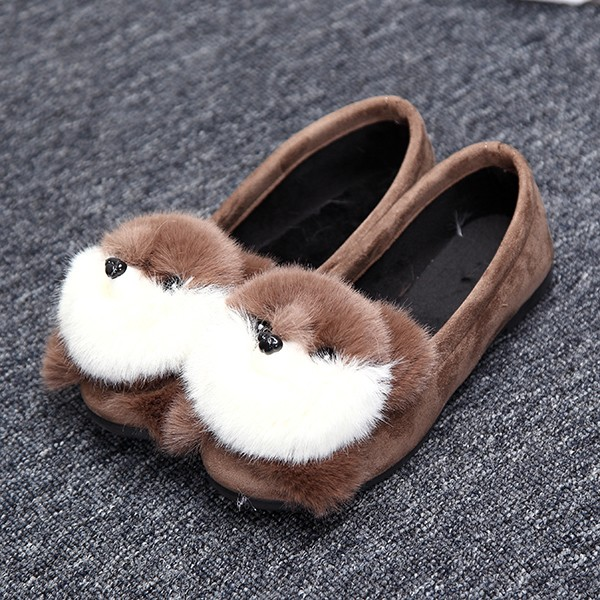 Women Lovely Suede Shoes Cartoon Casual Outdoor Slip On Flats