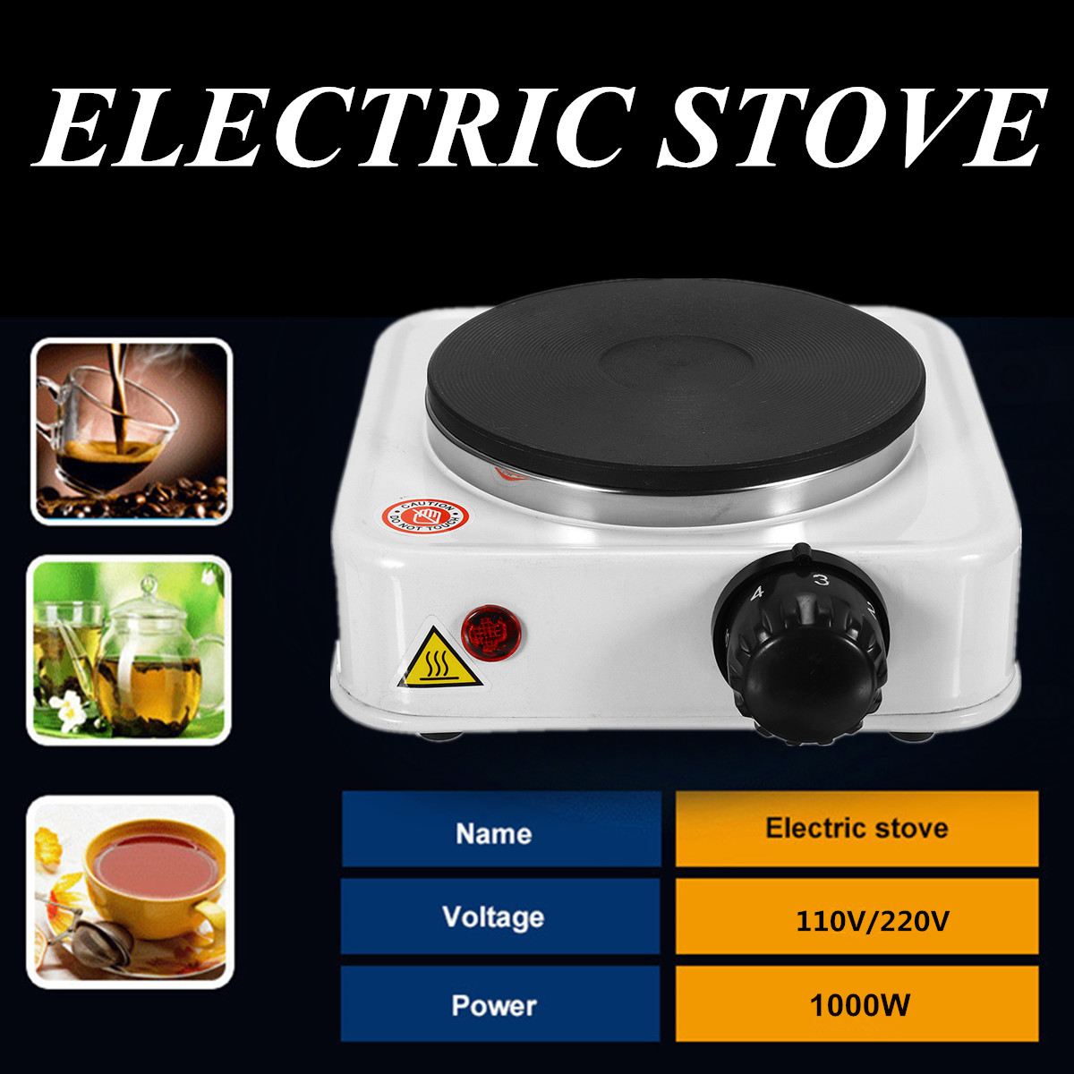 500W Mini Electric Stove Hot Plate Burner Portable Warmer Coffee Heater Travel Cooking Appliances