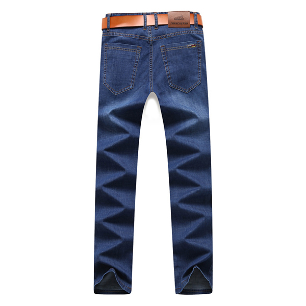 Mens Summer High Rise Loose Business Cotton Blue Jeans
