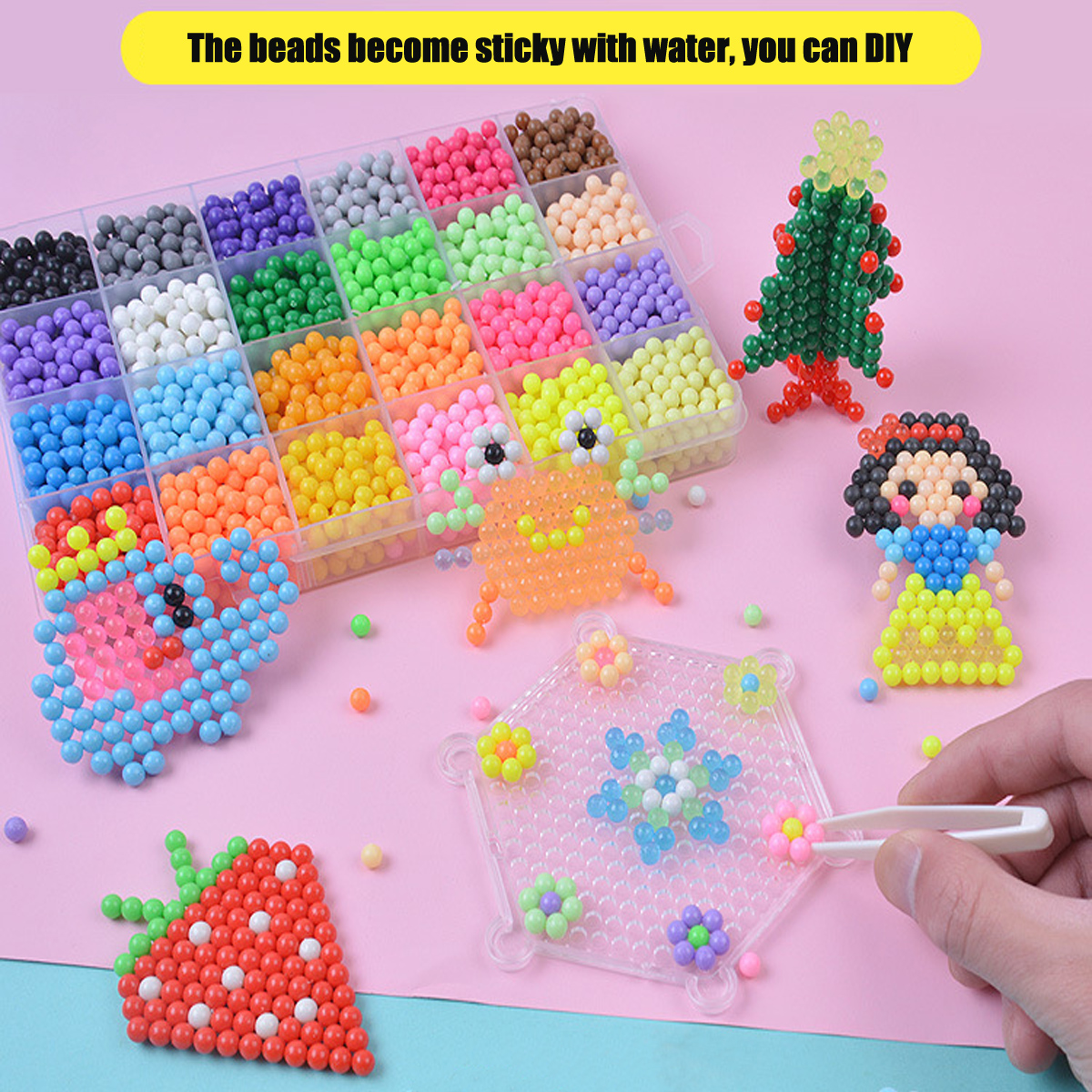 Water Beads Refill Magic Water Sticky Beads Art Crafts Compatible with Aquabeads Beados