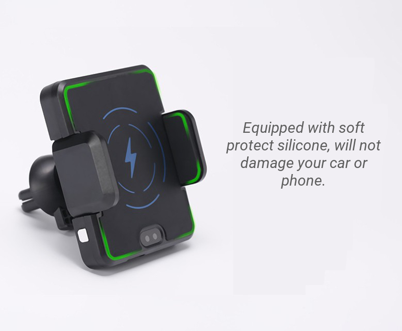 Qi Intelligent Infrared Car Wireless Phone Charger Holder 360° Rotation Stand Mount for Iphone