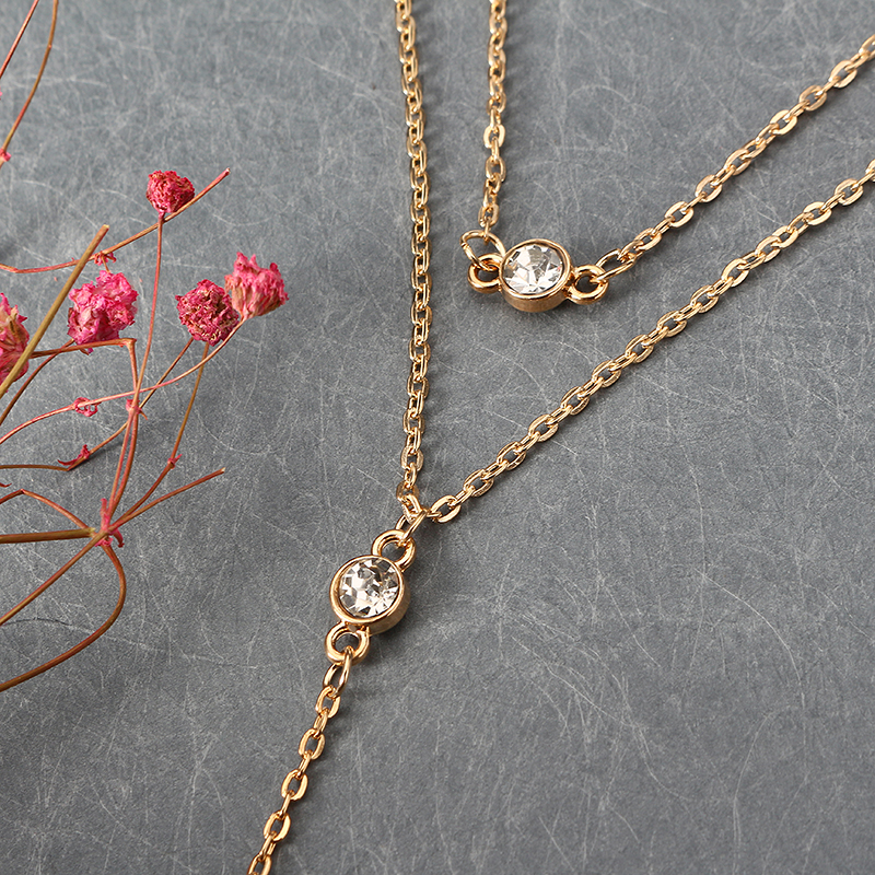Charming Heart Shape Multilayer Chain Elegant Crystal Necklace for Women