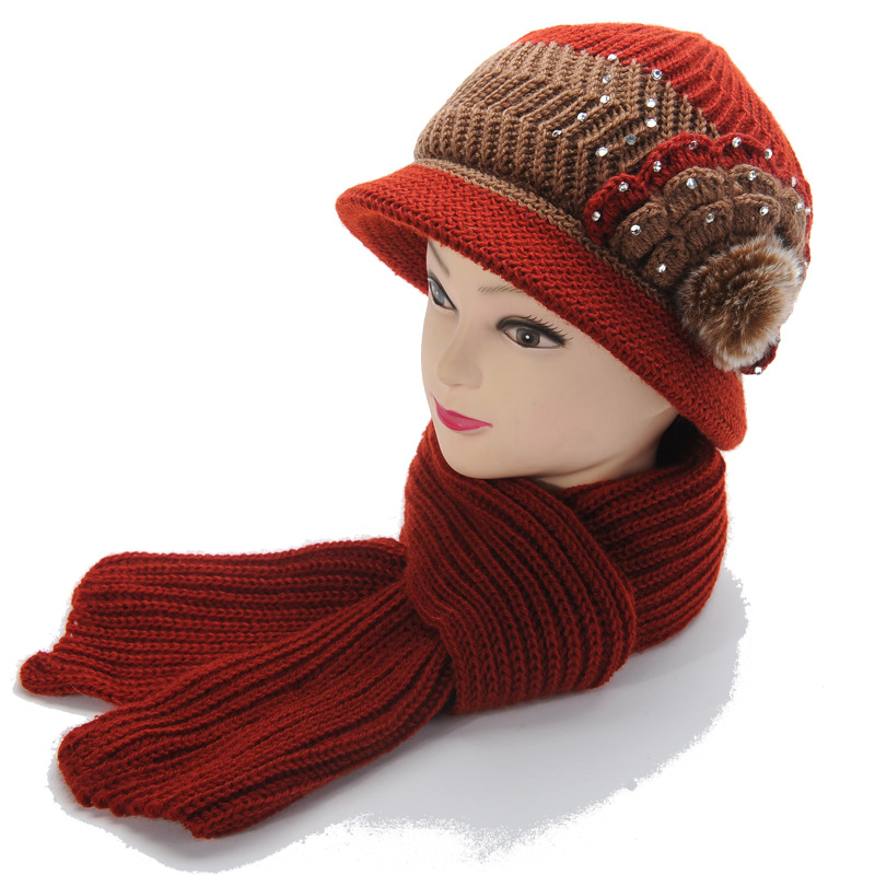 Women Winter Thickening Knitted Bucket Hat Casual Warm Soft Scarf Hat Twinset