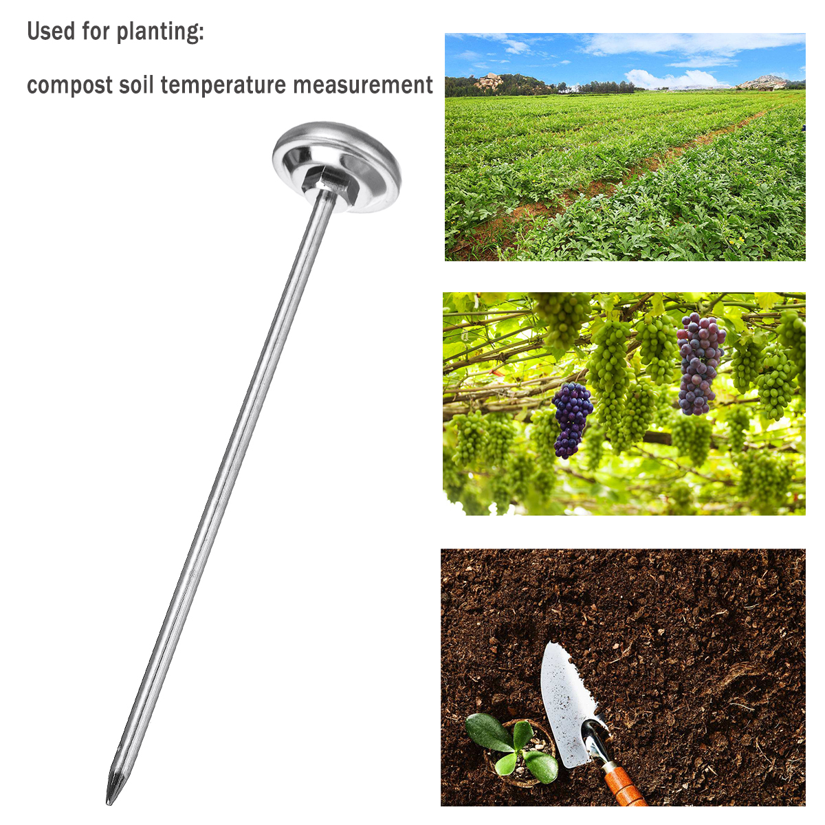 127mm Multifunctional Universal Thermometer Soil/Drink/Food Premium Stainless Steel Probe Detector