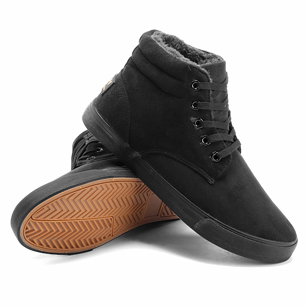 Men Casual Comfy Durable Sole Warm Fur Lining High Top Sneakers Boots