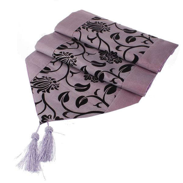 Flocking Damask Table Runner Cloth Wedding Decoration