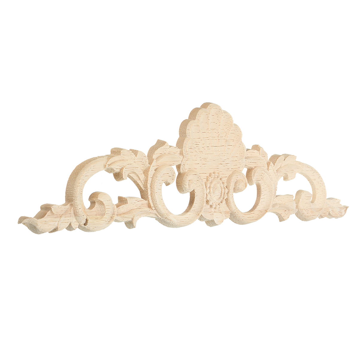 Wood Carved Long Applique Unpainted Flower Door Decoration