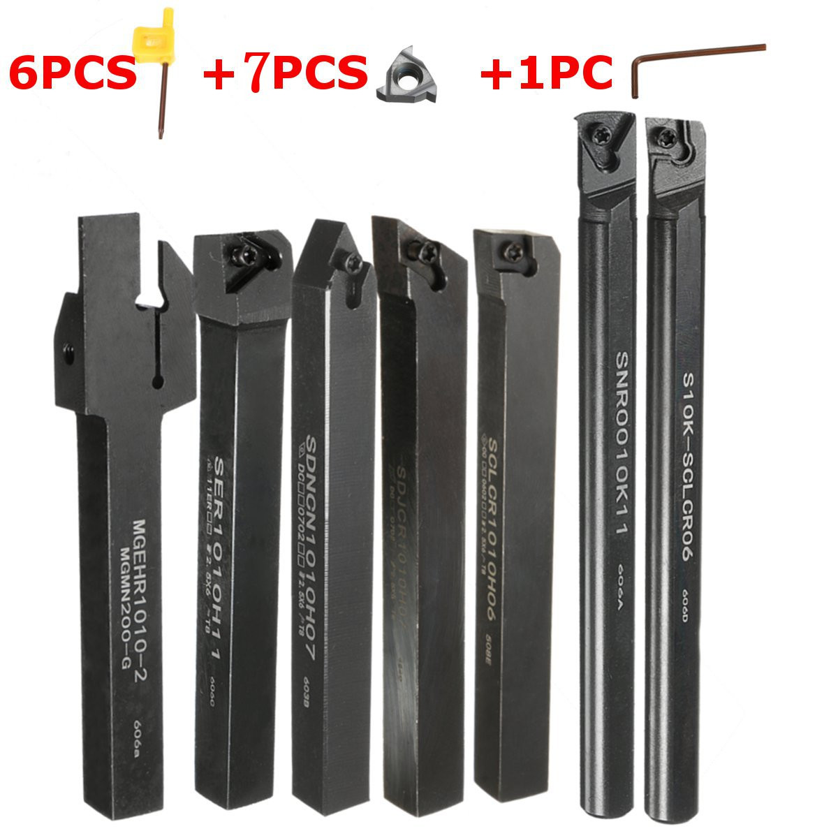 Machifit 7pcs 10mm Shank Lathe Turning Tool Holder Boring Bar With Carbide Inserts