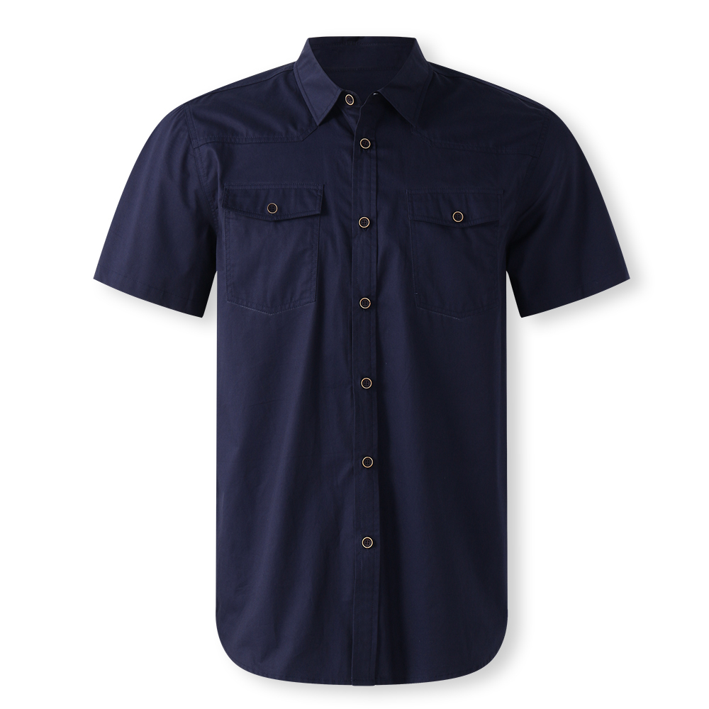 TWO-SIDED Mens Outdoor Double Pocket Solid Color Work Shirts