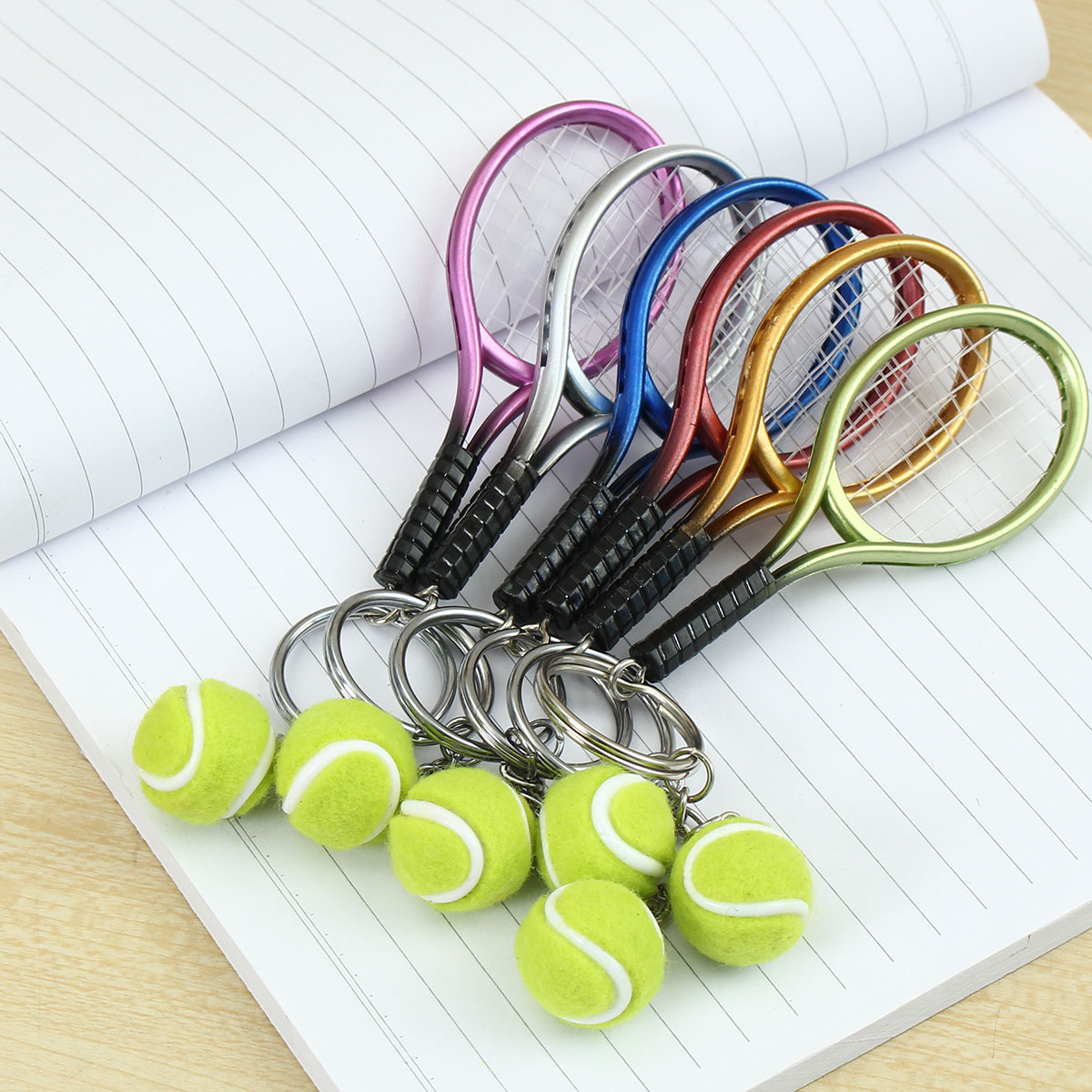 Multi-color Sport Tennis Ball Racket Key Chain Collectable Key Rings