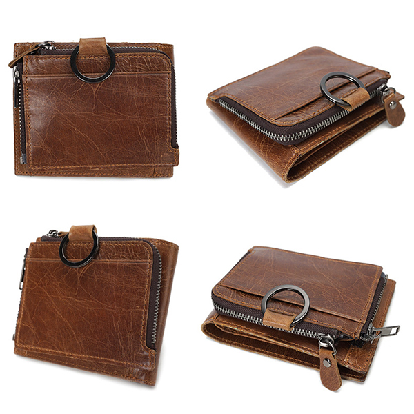 Removable Zipper Wallet Men Vintage Wallet Genuine Leather Oil Wax Card Holder Coin Purse