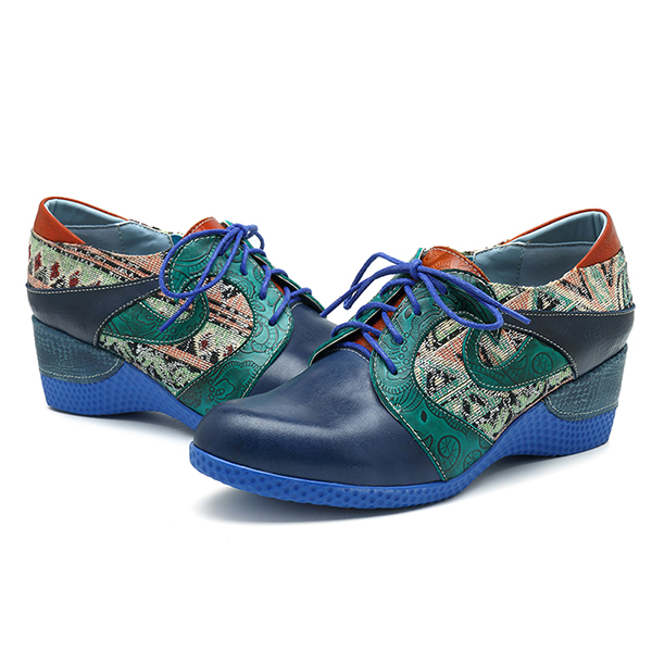 SOCOFY Jacquard Zipper Wedges Heel Leather Shoes