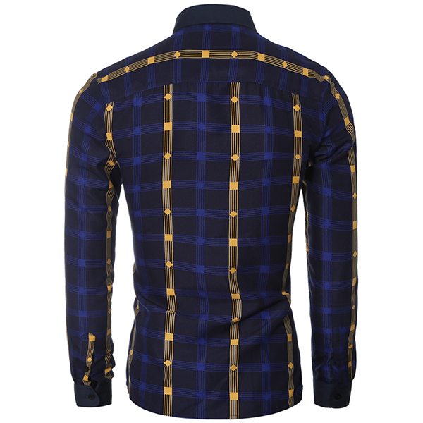 Classic Fashion Big Plaid Contrast Color Long Sleeve Men Checkered Shirts